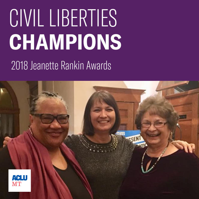 Judith Heilman, Denise Juneau and Carol Juneau at the Jeanette Rankin Civil Liberties Awards