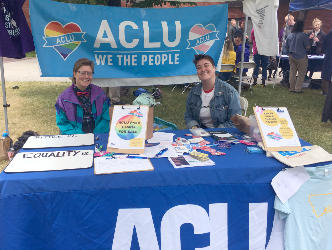 Photograph of table at 2019 Pride event in Helena