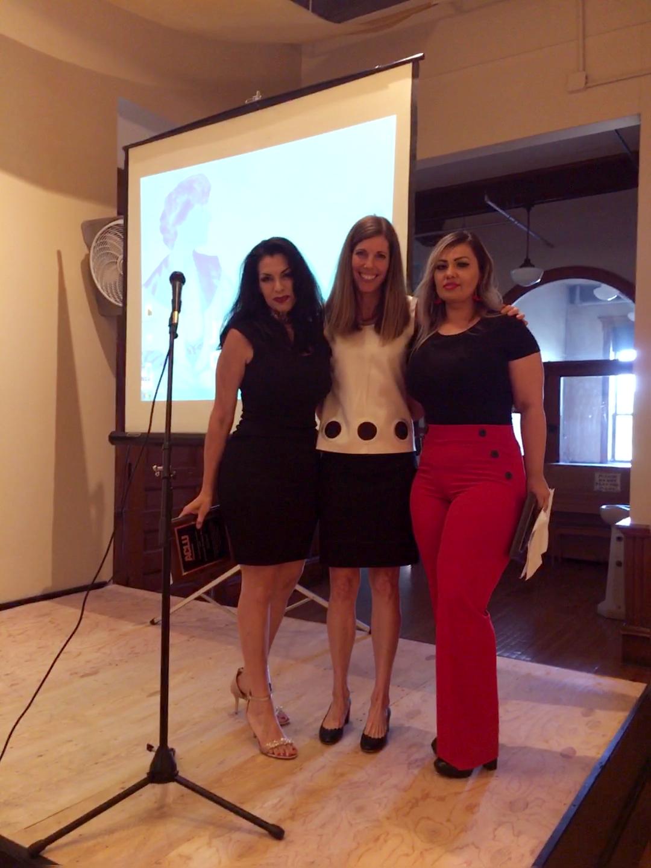 Photo of Ana Suda, Caitlin Borgmann, and Mimi Hernandez