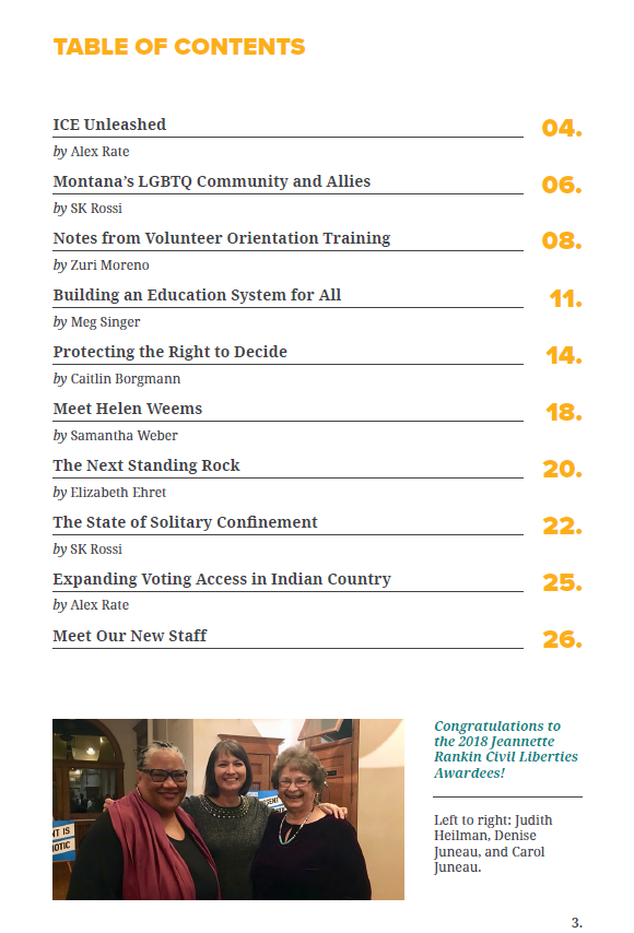 Spring 2018 Newsletter Table of Contents