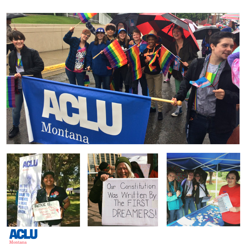 photo collage of Big Sky Pride, Immigrant Rights protest, ACLU tents