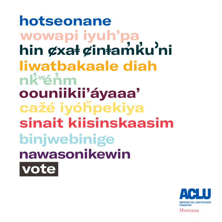 graphic of indigenous languages words or phrases for vote