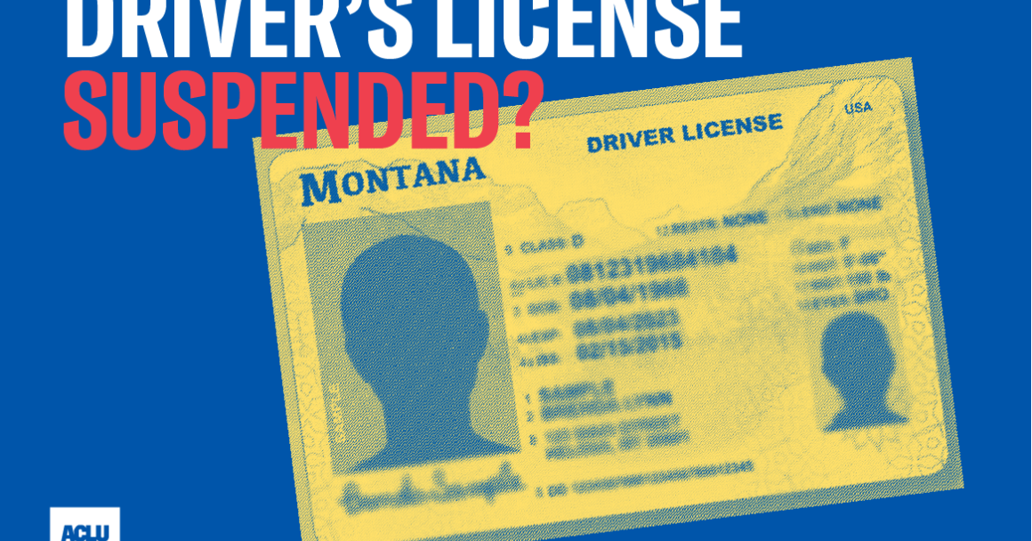 "Graphic of a driver's license, with text reading ""Driver's license suspended?"""