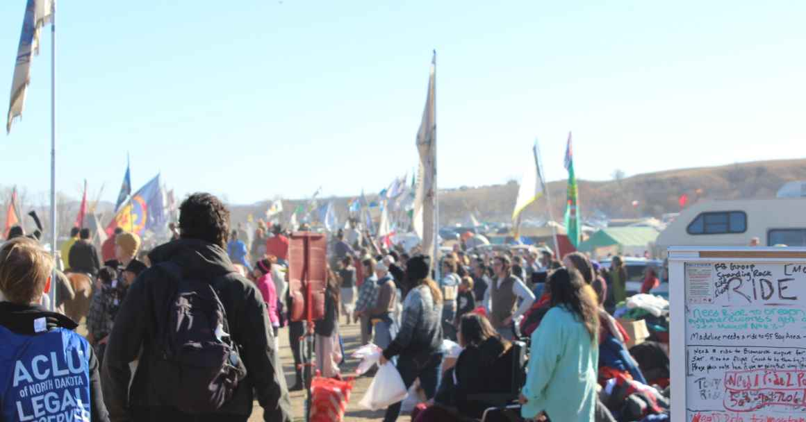 Image of Water Protectors and ACLU Legal Observer at Standing Rock