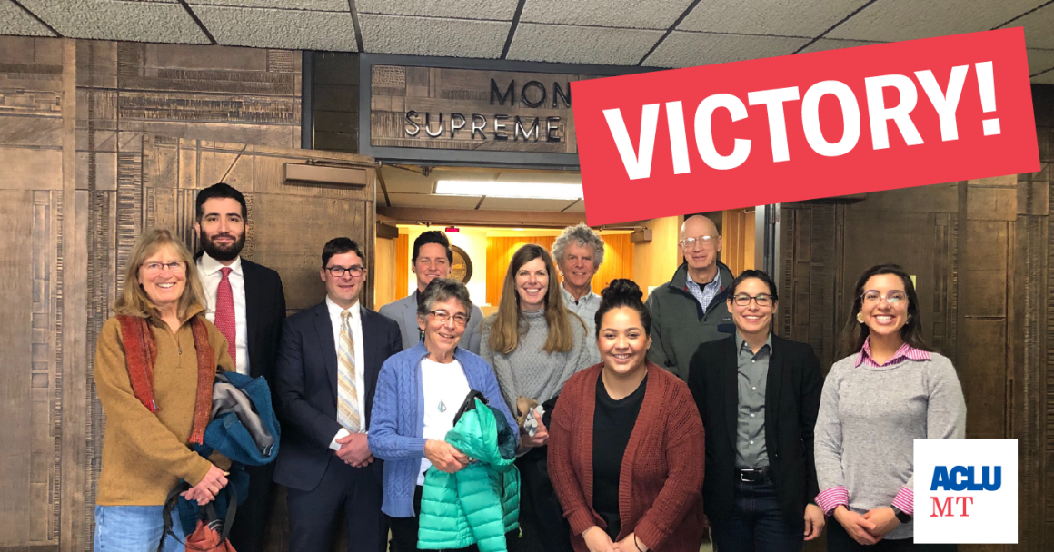 Image of ACLU team at MSC Jan 8 argument with Victory graphic